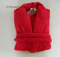 Wholesale Soft Coral Fleece Sleepwear - Wholesale-2015 Coffee blue pink red grey super soft coral fleece bath robe for women men robe sleepwear mens sexy sleepwear free shipping