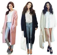 Cheap Wholesale-Korean Stylenanda New 2015 Women Long Cardigan Casual Loose Maxi Cardigan Knitted Sweater Coat Black Pink Beige Knitwear