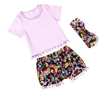 newborn vests - Toddler baby summer clothes girls boutique outfits kids cotton t shirts cute flower shorts tassel pants headbands sets newborn floral suit