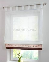 bamboo roman blind - New Bamboo Fabric Embroidered Patchwork Stitching Colors Sheer Window Curtain Tulle Roman Blinds pc