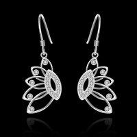 banana trees - Brand new sterling silver Insets banana tree earrings DFMSE485 women s silver Dangle Chandelier wedding gemstone earrings factory direct