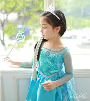 TuTu factory direct clothing - Direct Factory children girls anna dress Alsa frozen blue long sleeves lace princess dress kids party clothing showdress have stock