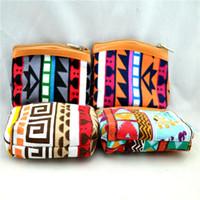 al por mayor bolsas azteca-Las mujeres nuevas embroma la carpeta ocasional impresa azteca retra 12pcs / Lot del monedero de la mini moneda del dinero de la lona liberan el envío