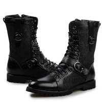 men military boots fashion - Cool Fashion Mens Genuine Leather Print Canvas Patchwork Motorcycle Ankle Boots Military Uniforms Shoes Buckle Straps Zip Autumn Trendy