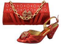 pink ladies shoes - Ladies crystal wedding dress shoes with matching evening bag in BLUE GOLD ORANGE PINK RED cm heel height sandals n shoulder bag