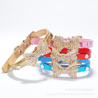 Wholesale Dog Collar Bling Crystal Bow Leather Pet Collar Puppy Choker Cat Necklace XS S SHM