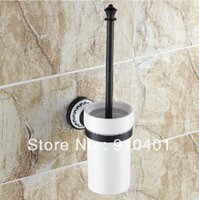 Wholesale And Retail Promotion Oil Rubbed Bronze Ceramic Brass Bathroom Toilet Brushed Holder W Ceramic Cup