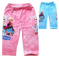 Wholesale Kids Girls Summer Pants Frozen Fever Girls Capri Cropped Trousers Elsa Anna Olaf Printed Shorts Blue Pink