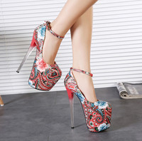 Wholesale National wind cm high with printing nightclub sexy female shoes women s shoes embroidered flowers Chinese style with Chinese characteris