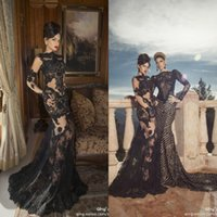 Wholesale Oved Cohen Sexy Black Mermaid Sheer Long Sleeves Lace Evening Dresses High Neck Sweep Train See through Formal Celebrity Prom Gowns