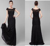 Wholesale Custom Sexy Black Lace Mother of the Bride Dresses With Capped Short Sleeve Mermaid Wedding Party Guest Gowns Beaded Evening Dress