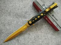 best blade runner - Ridge Runner S Metallic Gold Folding Stiletto Knife Cr13 steel Anodized gold coating Plain EDC pocket knives best gift B681J