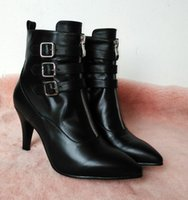shoe chains - Brand new winter shoes Genuine leather Women s boots Belt buckle high heeled boot high quality size