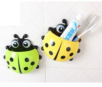 Cheap [4 colors] Cute Ladybug Cartoon Sucker Toothbrush Holder suction hooks   Household Items   toothbrush rack   bathroom set
