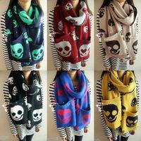 Wholesale 35pcs High quality color fashion winter girls Pocket ghost head wool knit handmade scarf shawl Scarves neckerchief TT41446482039 HX