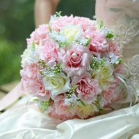 ribbon rose - Wedding Bridal Bouque Christmas Silk Cloth Ribbon Flowers Wedding Bridesmaid Bouquets Wedding Bouquets