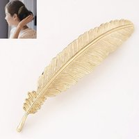 Wholesale European Fashion Antique Metal Feather Hairgrips Hair Clip Female Hair Wear Jewelry Accessories Gold silver