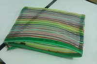 Wholesale pc Rainbow transparent nylon net Cosmetic Pencil Document A5 size Protection Bag case x mm