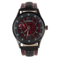 Wholesale 285657Daybird Fashionable Cow Split Leather Band Men s Automatic Mechanical Wrist Watch Red Blackchenbaiyi15048