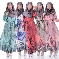 Wholesale Cheap Thailand Indonesia Pakistan Traditional Clothing Colorful Printed Chiffon Kurtas Muslim Robe Ethnic Clothing Women Kameez