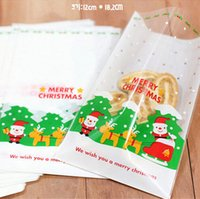 bakery kitchen - 2015 Santa Claus Christmas Candy Cookies Bags Kitchen Bakery Roast Cake Snack Food Package Xmas Party Gifts Decorations