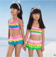 Wholesale girls bathing suit kids swim New Rainbow Cake girls swimsuit swimwear Ruffle Tiered Children bikini bathing suit BJ058