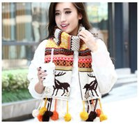 Wholesale Snowflake elk Knitting Scarf autumn and winter days fashion lady fawns scarves Christmas Gifts X32CM