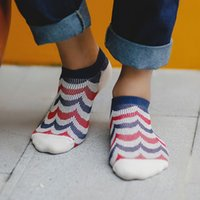 android socks - Spring and summer retro personality wave stripe double needle cotton men s socks socks cotton goods Android B515