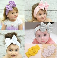 baby headbands with big flowers - Baby Girl s Headbands Cotton Hair Bow Flower cotton headband with big bow Solid Color