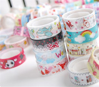 Wholesale Stylish set Cute Mixed Colors Roll DIY Hobby Decorative Sticky Crafting Scrap box packed paper adhesive masking tape baby A2