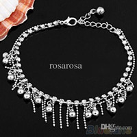 ankle bangles - Silver Tone layers Tassel Crystal Jewelry Chain Anklet Ankle Bracelet bangles AGW
