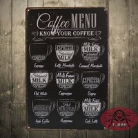 antique home decoration - CAFE MENU KNOW YOUR COFFEE TIN SIGN Old Wall Metal Painting ART Decor F Mix order CM