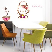 hello kitty stickers - bedroom decoration The new removable wall stickers children cartoon foreign trade combination monochrome stickers Hello Kitty DF5074