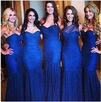 Cheap Stunning Royal Blue Bridesmaid Dresses Sexy Sweetheart Corset Mermaid Evening Dresses Low Back Floor Length Formal Dresses Long Customized