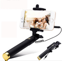 Wholesale New Audio cable Integrated Monopod wired Selfie Stick Extendable Handheld Built in Shutter and Clip for IOS iPhone Android Smart phone