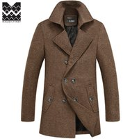 plus size dropship - Fall winter Famous Brand wool coat mens Long trench coat jacket plus size outerwear coats men dropship Wool amp Blends