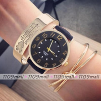watch faces - Hot new arrival leather watch Twins face big numbers quartz wristwatch for male and female leather watch