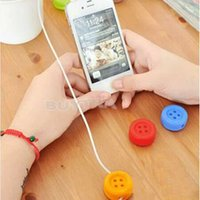 Wholesale For earphone PC Laptop wrapped winder cable wire device M Cute Button Design Headphones Wired cable winder