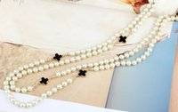 Wholesale Small Pearl beads long necklaces four leaf clover multi layers necklace fashion statement Jewelry for women
