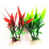 Wholesale Family Aquarium Fish Decration Plastic Ocean Plant Bamboo Leaves fhsdf
