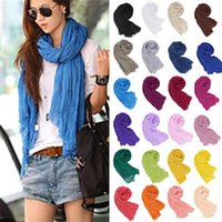 Wholesale Hot Sales Fashion Women Girls Candy Colour Crinkle Voile Blends Long Soft Scarves Wrap Shawl Stole FX181