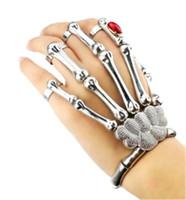 Wholesale Skeleton Hand Bones Bracelet - Punk Goth Gem Silver Skeleton Slave Bones Talon Hand Skull Bracelet Stretch Bangle Party Weapon Jewelry