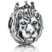 Wholesale Sterling Silver Lion King Head Charm Bead Fit for European Charm fit for pandora Bracelet