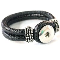 Wholesale Free ePacket Black Pu leather Ginger Snap Button Bracelet Fit for mm Ginger snap Button Charm Jewelry colors