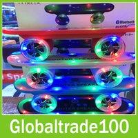 mini skateboard - Multi Colors Mini Wireless Bluetooth Scooter Skateboard Speaker with LED Flashing Light FM Radio