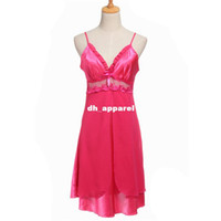 Wholesale Hot Sale Women Sexy Silk Lace Nightgowns Chiffon V Neck Spaghetti Straps Summer Sleepwear Pajamas