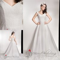 vintage style - Newest Style A Line Bridal Dresses Custom Made Applique Embroidered Formal Prom Gowns Sweetheart Cap Sleeve Lace Up Sexy Bridal Dresses
