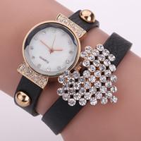 Nuevo cuero de la llegada reloj pulsera corazón de la manera mujeres del diamante del reloj del cuarzo Reloj Reloj Mujer Relogio Femenino