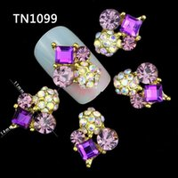 nail charms - 10 D Nail Art Decorations Gold Alloy Diy Glitter Geometric Charm Purple AB Rhinestone Tools Used On Nails Polish Gel UV