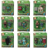 Wholesale 2015 NEW Minecraft JJ styles Enderman creeper Mooshroom Action Figures DIY Building Blocks Bricks include package box B001